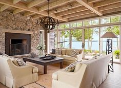 Renovated cabins, new homes, small cottages with big style-see some of the lake getaway homes featured in Midwest Living. House Design, House, Fireplace Design, House Plans, New Homes, House Interior, Living Room Styles, Midwest Living, Great Rooms