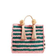 Women's Loeffler Randall Straw Travel Tote ($295) ❤ liked on Polyvore featuring bags, handbags, tote bags, rainbow, white handbag, pom pom straw tote, tote purses, travel tote and straw tote handbags