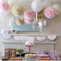 Cheap pom pom balls, Buy Quality tissue paper pom poms directly from China paper pom poms Suppliers: mixed size Wedding Decoration Tissue Paper Pom Poms Balls Festival Baby Shower Party Decoration Supplier Deco Baby Shower, Shower Party, Baby Shower Parties, Shower Gifts, Bridal Shower, Shower Time, Shower Favors, Shower Invitations, Party Decoration