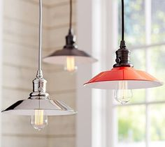 PB Classic Pendant - Metal Flared #potterybarn.  Another possibility for over the kitchen sink!