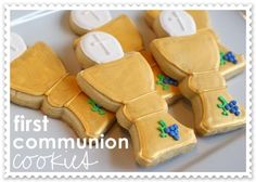 Bake at 350: First Communion Cookies - Chalice and Host. Includes link for the cookie cutter used to make these cookies.