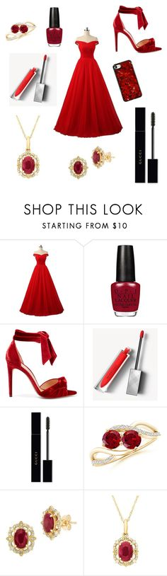 """""""Radiant Red"""" by thompmel ❤ liked on Polyvore featuring Alexandre Birman, Burberry, Gucci and Lord & Taylor"""
