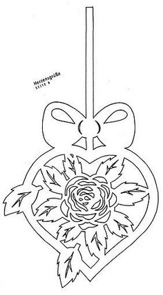 Hanging heart with rose