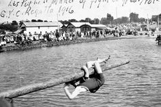 Winner of greasy pole competition at the Geelong Yacht Club regatta.