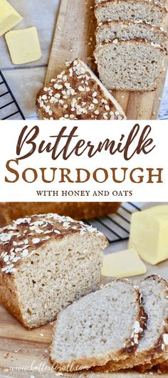 Sweet and Tangy Buttermilk Sourdough with honey and oats is the sliceable sandwich loaf you've been dreaming about! #sourdough #starter #cultured #buttermillk #fermented #rolledoats #honey #loaf #sandwich #baking #rawmilk #butter Sourdough Pancakes, Sourdough Recipes, Easy Bread Recipes, Sourdough Bread, Real Food Recipes, Sandwich Loaf, Healthy Baking, Healthy Breads, How To Make Sandwich
