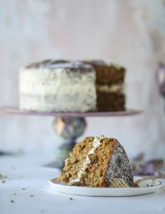 Pistachio Carrot Cake with Cream Cheese Frosting.