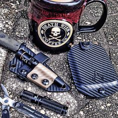 Custom ESEE Izula Sheath and Vita EDC Wallet by Armatus Carry Solutions along with a great cup of Death Wish Coffee.