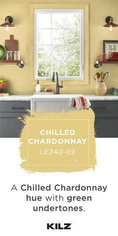 gray cabinets Looking for a relaxing wall color for your home? Try out Chilled Chardonnay by KILZ COMPLETE COAT Paint & Primer In One. This modern kitchen pairs marble countertops and gr Yellow Paint Colors, Wall Paint Colors, Interior Paint Colors, Yellow Painting, Room Paint, Gray Paint, Exterior Paint Colors For House, Paint Colors For Home, House Colors