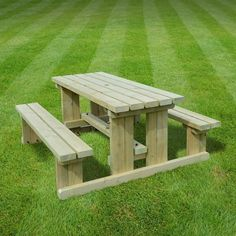 Tinwell junior picnic bench (available in right brown/light green, sizes from - and with optional rounded edges) Painted Picnic Tables, Outdoor Tables And Chairs, Garden Table And Chairs, Patio Table, Patio Chairs, Diy Patio, Green Table, Rattan Garden Furniture Sale, Outside Furniture