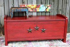 Antiquing with Howards paste wax - antiqued red cedar chest adorned with iron stars Petticoat Junktion