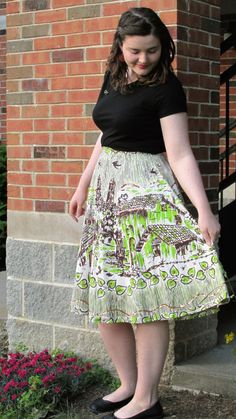 Summer's Eve in the City Outfit novelty print skirt #50s #noveltyprint