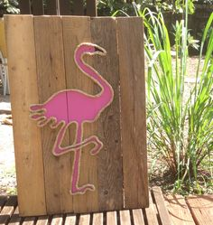 A personal favorite from my Etsy shop https://www.etsy.com/listing/211937611/handmade-flamingo-with-rope-beach-pallet