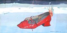 La scarpa rossa, olio su tela, 1971.