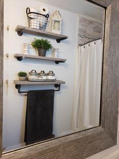 Bathroom Decor Discover Rustic Bathroom Home Floating Shelves Industrial Towel Bar Pipe Floating Bathroom Home Decor Diy Bathroom Decor, Bathroom Towels, Bathroom Styling, Bathroom Interior, Bathroom Designs, Bathroom Cabinets, Bathroom Organization, Bathroom Storage, Bathroom Mirrors