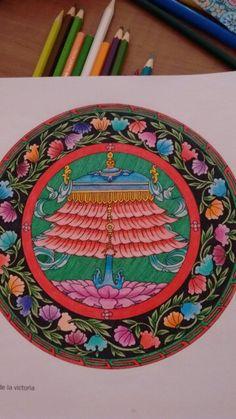 El estandarte de la victoria, simboliza la victoria de Buda contra el ejército de Mara (demonio que impedía la evolución del budismo). Libro Mandalas del Tíbet #Mandala