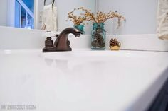 Did you know you can update your bathroom integral sink with paint? Learn how with this budget-friendly painted bathroom sink and countertop makeover. Countertop Transformations, Countertop Makeover, Painting Countertops, Diy Countertops, Bathroom Renos, Bathroom Renovations, Bathroom Ideas, Counter Top Sink Bathroom, Bathroom Vanity Makeover