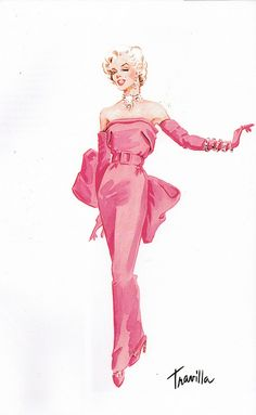 "Travilla costume design sketch for the gown Marilyn Monroe wore in her famous musical number ""Diamonds Are a Girl's Best Friend"" for the classic film GENTLEMEN PREFER BLONDES (1953) #costumes #classicfilms"