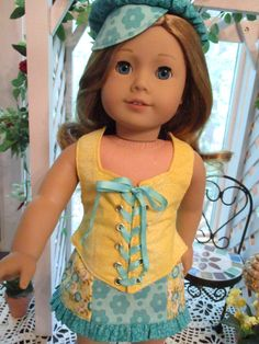 Yellow and Teal Trendy Doll Dress to fit your American Girl Doll by on Etsy Ag Doll Clothes, Doll Clothes Patterns, Doll Patterns, My American Girl Doll, American Girl Clothes, Girls Summer Outfits, Girl Outfits, Summer Clothes, Doll Organization