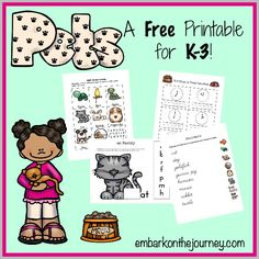 FREE Pets printables pack for K-3