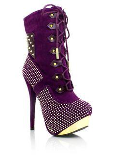 Wish | studded-lace-up-boots BLACK PURPLE RED - GoJane.com