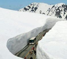road carved out of the snow Tateyama Kurobe Alpine Route, Toyama, Japan. Toyama, Photo Japon, Japan Photo, Places To Travel, Places To See, Places Around The World, Around The Worlds, Winter Szenen, Stations De Ski