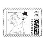 Postcard Stick Figure Wedding Couple RSVP Invite Save The Date - Photo Wedding Postcards Stamps - Do It Yourself Bridal planners repeatedly inquire: what's the postage for a postcard? These small and make your own Designer Invite Postage will be perfect for wedding type postcards and other wedding invite packets. - Wedding Postcards Designs - Postcard Stick Figure Wedding Couple For Wedding Postcards
