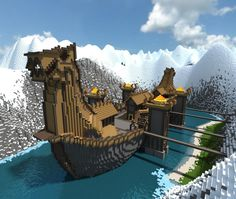 viking-longship - Minecraft, Pubg, Lol and Minecraft Medieval, Minecraft Plans, All Minecraft, Minecraft Blueprints, Minecraft Crafts, Cool Minecraft Creations, Minecraft Designs, Minecraft Structures, Minecraft Buildings
