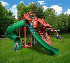 Dane's Den Deluxe - New 2015 Play Sets: Kid's World Play Systems. It's the headquarters for imagination adventures! Comes with oodles of features, including tube and curved slides, climbing wall, sandbox, steering wheel, a variety of swings, and more!