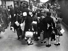 WW2: A group of evacuee children carrying suitcases