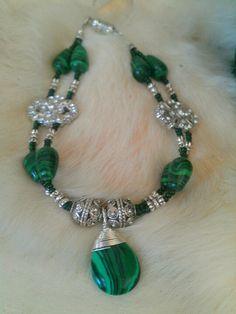 Better pic of malachite bracelet I made for Mom.