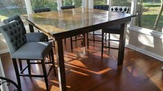 Learn more about custom Square Farmhouse Tables by James+James. Counter Height Dining Table, Solid Wood Dining Table, Wood Table, Dining Area, Solid Wood Furniture, Dining Furniture, Farmhouse Chic, Farmhouse Table, Kitchen Nook