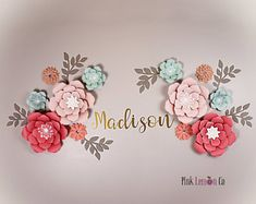 nursery name sign girl paper flowers nursery decor wall art paper flowers baby shower decor nursery decor flower backdrop giant paper flower