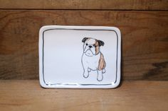 Hand made & animal painted Versatile dish - Soap Dish - Jewelry plate - Ceramic saucer - Cute serving - English Bulldog plate by CreativeStoneCera on Etsy