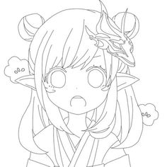 Cute Sketches, Anime Drawings Sketches, Outline Drawings, Anime Character Drawing, Cartoon Girl Drawing, Cute Anime Character, Chibi Sketch, Anime Sketch, Anime Lineart