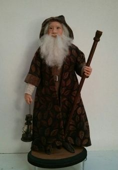 One of my favorite hand sculpted Santas that I made. Old World Christmas Ornaments, Christmas Decorations, Clay Dolls, Art Dolls, Snowmen, Reindeer, Primitive Santa, Woodland Critters, Paper Clay