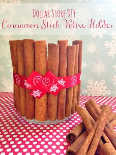 DIY Cinnamon Stick Votive Holder - Take a look below at how we crafted a cinnamon stick votive holder, perfect for adding to your holiday home décor or all winter long. #DIY  #Crafts #Cinnamon #Candles