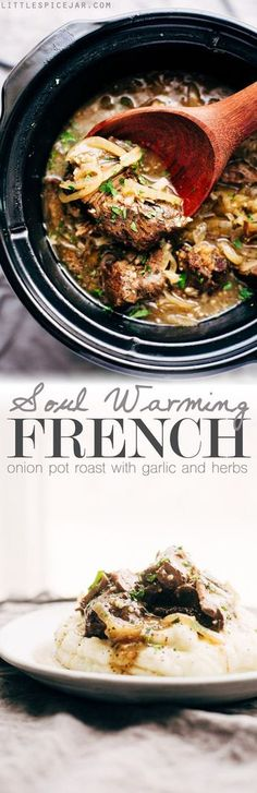 Soul Warming French Onion Pot Roast - A simple pot roast that combines french onion soup with pot roast! Make it in the slow cooker on in the oven! #potroast #beefroast #frenchonionsoup #slowcooker | http://Littlespicejar.com
