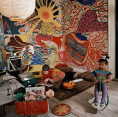 Neneh Cherry and her mother Moki at their home in the countryside outside the small town of Hässleholm (Sweden), early Seventies Houses Architecture, Interior Architecture, Interior And Exterior, Boho Apartment, Neneh Cherry, Aesthetic Rooms, Textile Artists, My Room, Home Deco