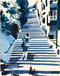 Steps to the Castell de Bellver, Palma de Mallorca by Christoph Niemann Sketchbook Inspiration, Art Sketchbook, Ink Illustrations, Illustration Art, New Yorker, Christoph Niemann, Observational Drawing, Urban Sketching, Art Abstrait