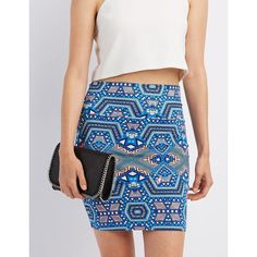 Charlotte Russe Printed Bodycon Mini Skirt ($11) ❤ liked on Polyvore featuring skirts, mini skirts, blue combo, short skirts, charlotte russe, short bodycon skirt, print skirt and mini skirt