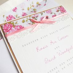 'Floral Rose' Vintage Wedding Invitation