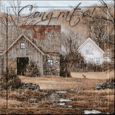 ♥♥♥ Arte Country, Country Barns, Old Barns, Country Life, Watercolor Landscape, Landscape Art, Watercolor Art, Swan Painting, Image Nature