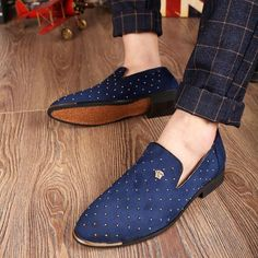 Mens Casual Rivet Studded Slip On Flat Loafer Pointed Toe Dress Shoes FREE…
