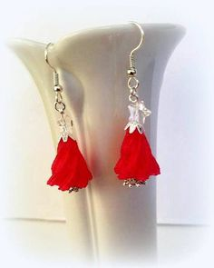 b55330633 40% OFF Red Christmas Tree Earrings with Swarovski Crystal Star Topper,  Choose Silver Hypoallergenic