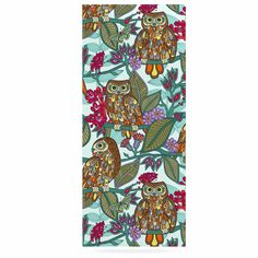 """Julia Grifol """"My Bookbooks Owls On Blue"""" Brown Blue Luxe Rectangle Panel"""