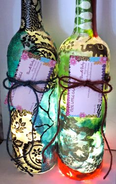 Two Wine Bottle Lights Upcycled Wine Bottles by cutelittlecanvases, $60.00