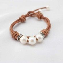Brown leather cord pearl bracelet, leather bracelet, wrap bracelet, ETS - B012