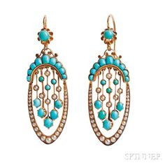 Antique 18kt Gold, Turquoise, and Split-pearl Earrings, France, c. 1870, with calibre-cut and cabochon turquoise and split pearls, lg. 1 7/8 in., guarantee stamps.   Skinner Auctioneers