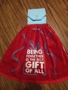 Being Together is the Best Gift of All, Kitchen Towel, Christmas Towel, Gifts, Presents, Cotton Top with Snap by Marshaslilcraftpatch on Etsy