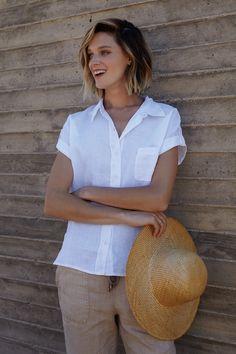 Three Dots Joana Linen Short Sleeve Shirt and Kai Linen Pant | Spring 2016 Collection